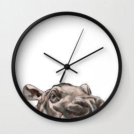 Peeking Baby Hippo Wall Clock