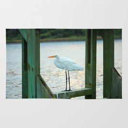 Egret Keeping Watch Rug