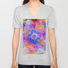 Modern bright pink lavender abstract kaleidoscope pattern Unisex V-Neck