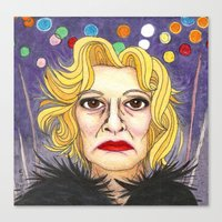 jessica lange Canvas Prints featuring Ms. Lange  by Insomnious