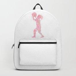 Girl Basketball Player Kids Art Gift Colorful Light Pink Watercolor Sports Art Kid Basketball Backpack