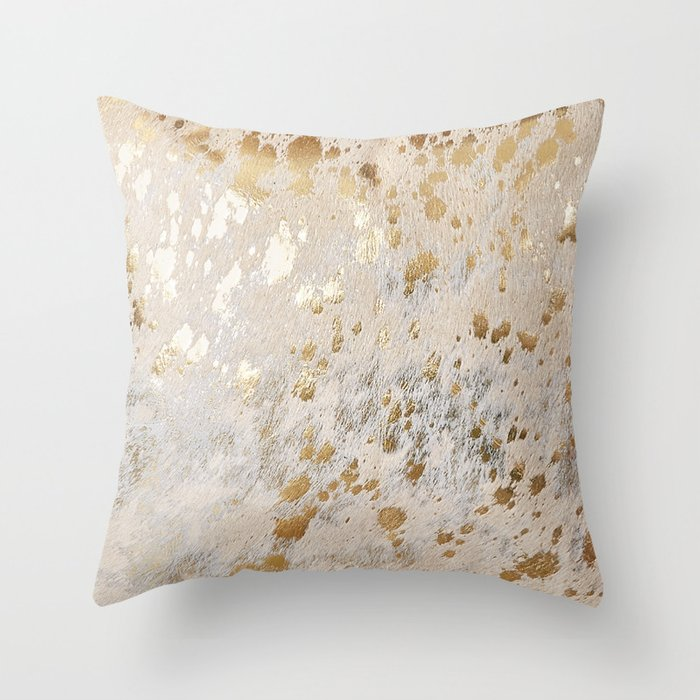 Gold Hide Print Metallic Throw Pillow