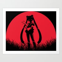 sailormoon Art Prints featuring Red Moon SailorMoon by Timeless-Id