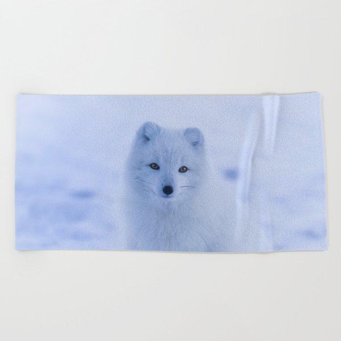White Snow Fox Softness Beach Towel