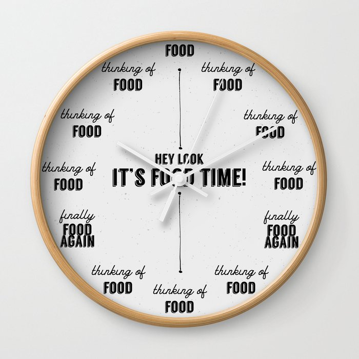 Hey It S Food Time A Kitchen Clock Wall Clock By Artfactstudio Society6