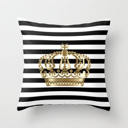 Black and White Stripes and Gold Crown 1 Throw Pillow