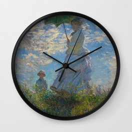 Claude Monet  -  Woman With A Parasol   Madame Monet And Her Son Wall Clock