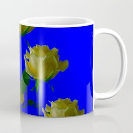 IVORY WHITE LONG STEMMED ROSES ON BLUE Coffee Mug