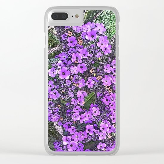 Spring floral blossom in lilac and green Clear iPhone Case