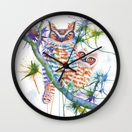 Momma and Baby Owls Wall Clock