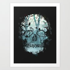 Dark Forest Skull Art Print