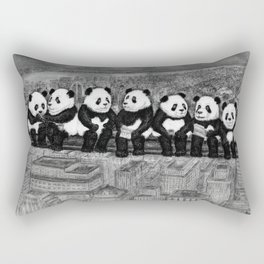 Panda Lunch Atop a Skyscraper - charcoal drawing Rectangular Pillow