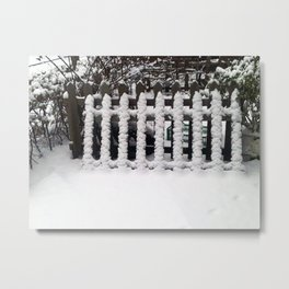 White snow picket fence  Metal Print