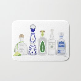 Tequila Bottles Illustration Bath Mat