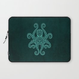 Intricate Teal Blue Octopus Laptop Sleeve