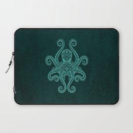 Intricate Teal Blue Octopus Laptop Sleeve