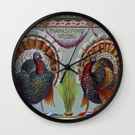Thanksgiving Greetings 1906 Wall Clock