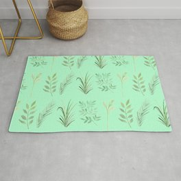 Bouquet of branches and leaves pattern,  Mint background Rug