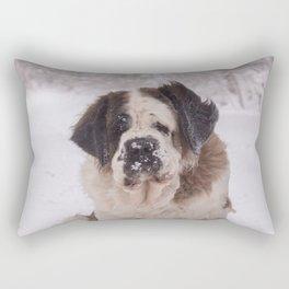 St Bernard dog on the snow Rectangular Pillow