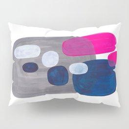 Mid Century Modern Minimalist Colorful Pop Art Grey Navy Blue Neon Pink Color Blobs Ovals Pillow Sham