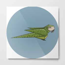 Kākāpō Origami Metal Print