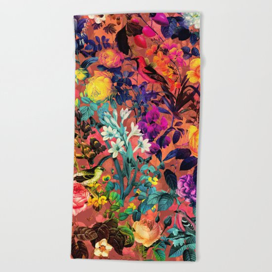 Floral and Birds II Beach Towel