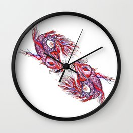 Dueling Koi Fish - Watercolor Wall Clock