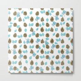 Modern teal brown botanical leaves pinecone pattern Metal Print