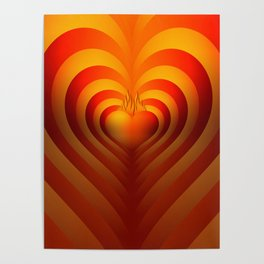 Heart in flames, reflected heart, lovely and vibrant heart. Poster