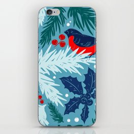Christmas Tree With Bird and Holly Pattern iPhone Skin