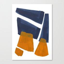 Colorful Minimalist Mid Century Modern Shapes Navy Blue Yellow Ochre Sharp Shapes Canvas Print