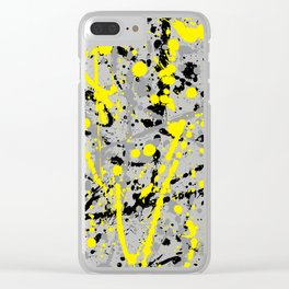Yellow Grey and Black Ink Splatter on White Clear iPhone Case
