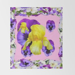 PINK COLOR PURPLE & WHITE PANSIES YELLOW IRIS Throw Blanket