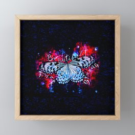 butterfly beautiful strong free splatter watercolor blue red Framed Mini Art Print