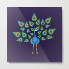 Peacock Totem Metal Print