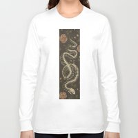 skeleton Long Sleeve T-shirts featuring Snake Skeleton by Jessica Roux
