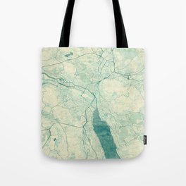 Zurich Map Blue Vintage Tote Bag