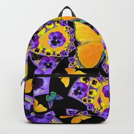 GOLDEN BUTTERFLIES PURPLE PANSIES BLACK DESIGN Backpack