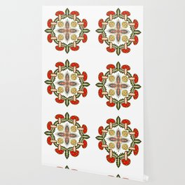 Fly Agaric Toadstool Forest Folkart, Red Fungi Mushroom Design with Trees Wallpaper