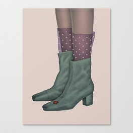 Boots and ladybug Canvas Print