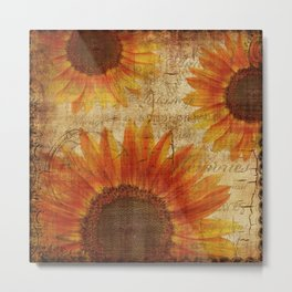 Rustic Sunflowers Yellow Orange Brown Metal Print