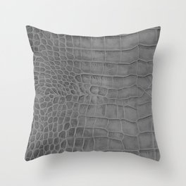 Croco leather effect - grey Throw Pillow