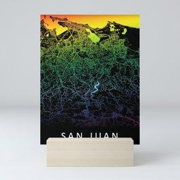 San Juan, Puerto Rico, City, Map, Rainbow, Map, Art, Print Mini Art Print