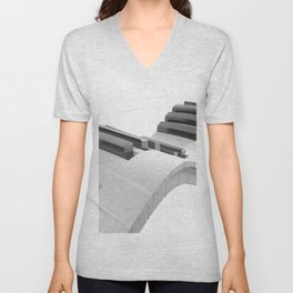 Keyboard of a piano waving on white background - 3D rendering Unisex V-Neck