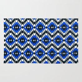 Geometric Blue & Black Rug