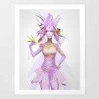 Pink Gold Fairy Art Print
