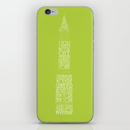 'Wordy Structures' Chrysler Building Green iPhone Skin