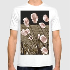 Pink Tulips and Moonlight White MEDIUM Mens Fitted Tee