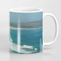 south africa Mugs featuring Cape of Good hope to south Africa by Tanja Riedel