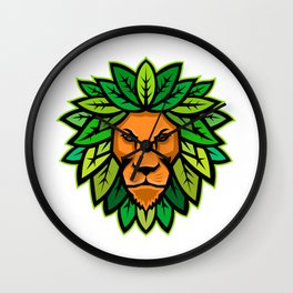 Lion With Leaves As Mane Mascot Wall Clock